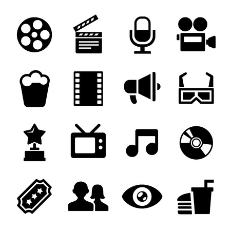 Movie and Cinema icons set. 16 icons. Stock Photo