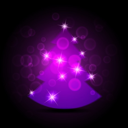 Abstract purple christmas tree on black background.  photo