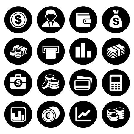 El dinero y la moneda de conjunto de iconos. Ilustración del vector.