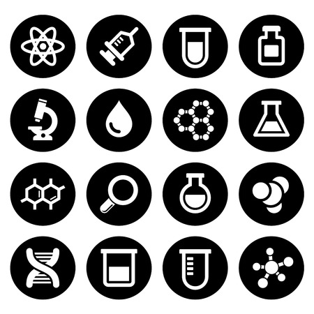 Chemical icons set on white background. Vector. Illusztráció