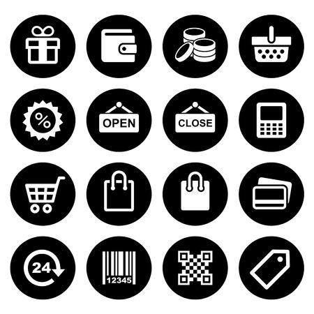 cash dispense: Set pictogram supermarket services, Shopping Icons vector