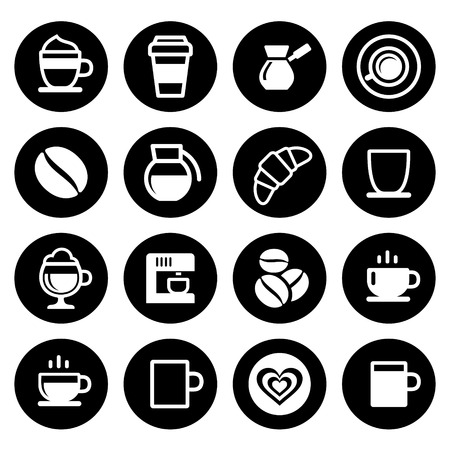 Coffee icon set on white. Vector illustration Vector