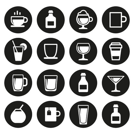Drink and alcohol beverage icons set. Vector. Vector