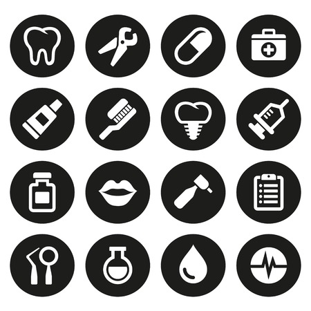 icone sanit�: Icone dentali impostare su sfondo bianco. Vettore.