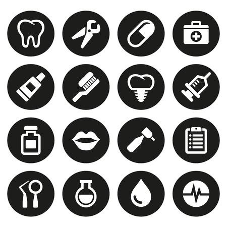 Dental icons set  on white background. Vector.