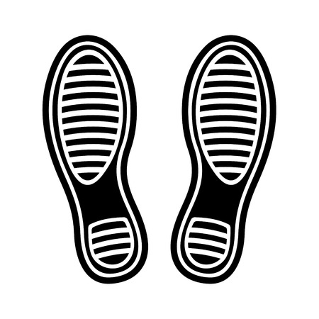 trail running: Black Imprint Shoes on White Background. Vector