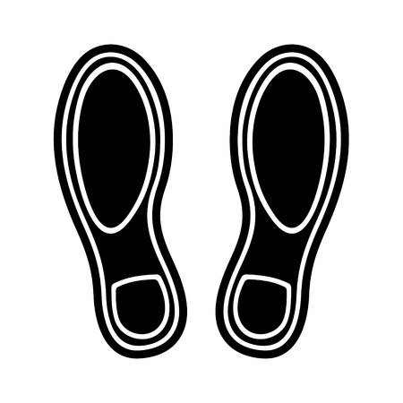Black Imprint Shoes on White Background. Vector