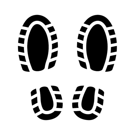 Black Imprint Shoes on White Background. Vector Vector