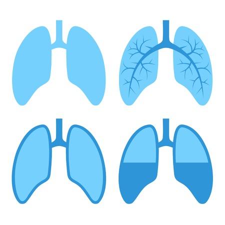 Azul pulmón Icons Set Humano. Ilustración vectorial. Ilustración de vector