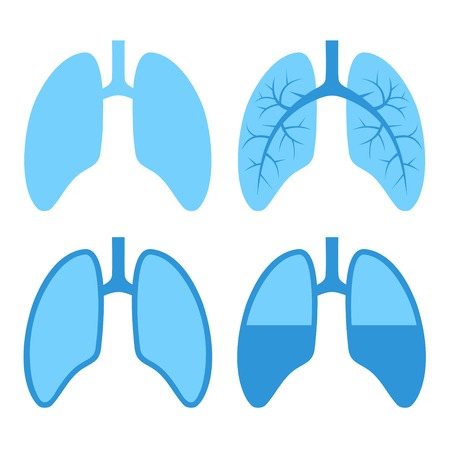 Human Blue Lung Icons Set. Vector Illustration.