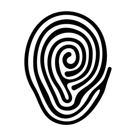 fingermark: Black Finger Print on White Background. Vector