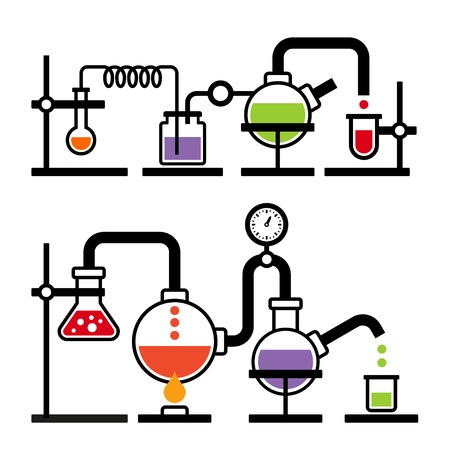 laboratory equipment: Chemistry Laboratory Infographic with Some Reaction. Vector