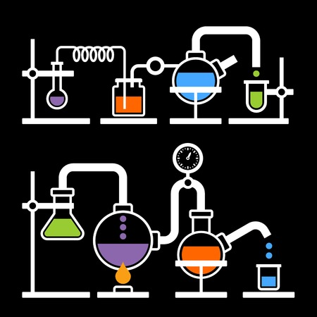Chemistry Laboratory Infographic with Some Reaction on Black Background. Vector Vector