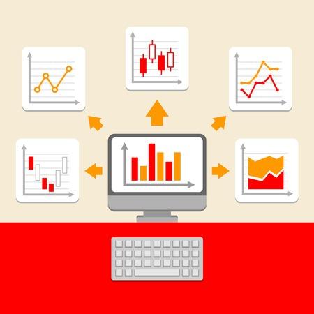 ビジネス評価と Charts コレクション。インフォ グラフィック要素。ベクトル  イラスト・ベクター素材