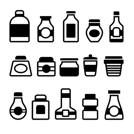 Jar Icons Set. Black Silhouette on White Background. Vector illustration Vector