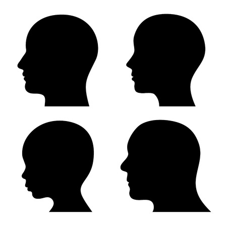 People Profile Head Silhouettes Set. Vector illustration
