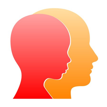 Man and Woman Face Profile Silhouette. Vector Illustration Vector