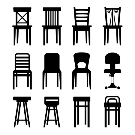 Old, Modern, Office and Bar Chairs Set. Vector Illustration Vector