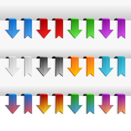 Color Ribbons and Arrows Set, Vector Illustration Vector