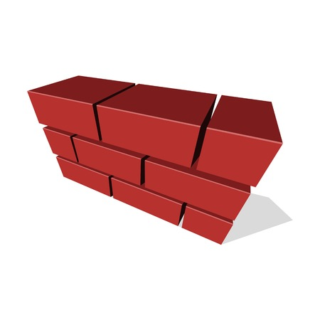 bricklayer: Brick Wall Icon 3D on White Background. Vector illustration
