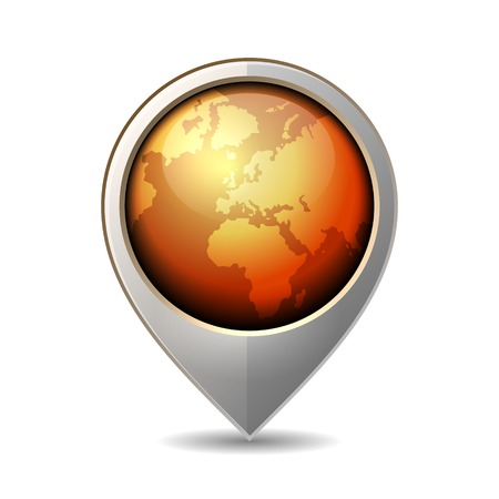 sea mark: Map Pointer with Earth Globe Icon. Vector Illustration