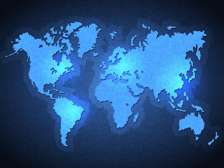 Blue Pixel World Map with Spot Lights. Vector Çizim