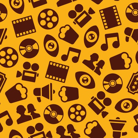 vector seamless pattern with retro cinema icons Vector