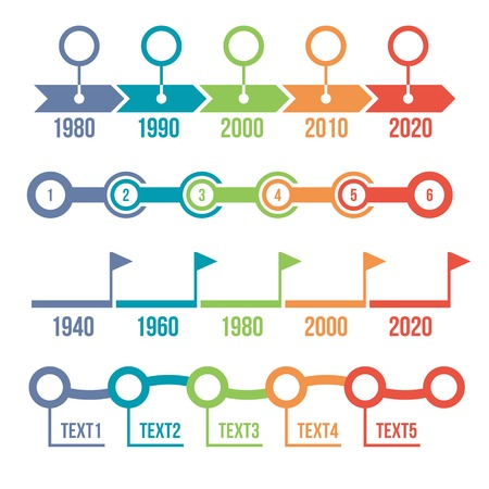 Colorful Timeline Set. Infographic template. Vector Illustration Vector