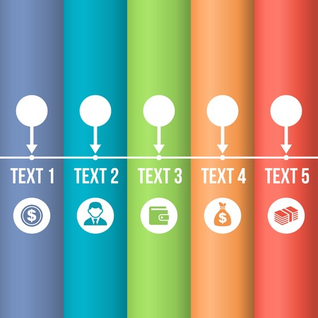 history month: Color Timeline Infographic with Business Icons. Vector
