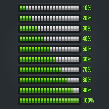 녹색 진행률 표시 줄을 설정합니다. 10~100% 벡터 일러스트 레이 션
