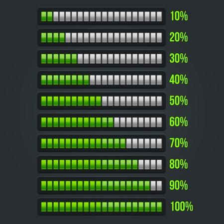 Green Progress Bar Set. 10-100% Vector Illustration Illustration