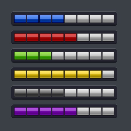 Color Loading Progress Bar Set. Vector Illustration Vector