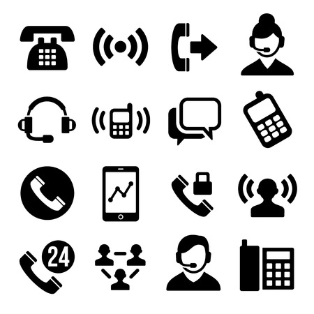 call center female: Phone and Call Center Icons Set. Vector