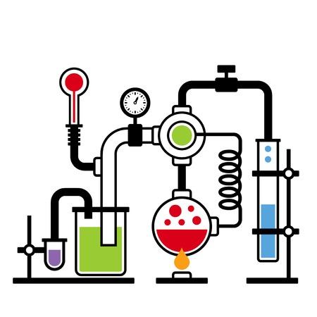 Chemistry Laboratory Infografik mit einigen Reaktion. Vektor