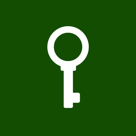 10 key: White Simple Key Icon on Green Background. Vector