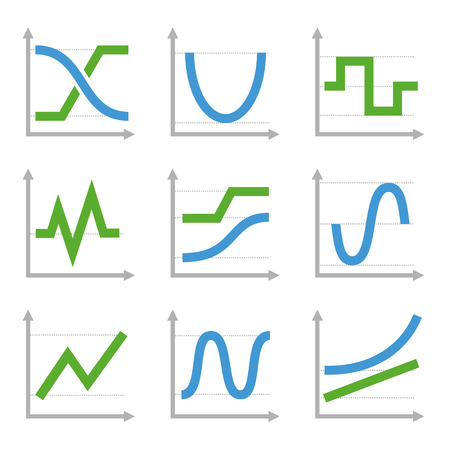 Digital and Analog Colorful Charts and Diagrams. Blue ang Green Vector Vector