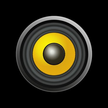 music loudspeaker: Speaker Isolated on Black Background. Vector Illustration