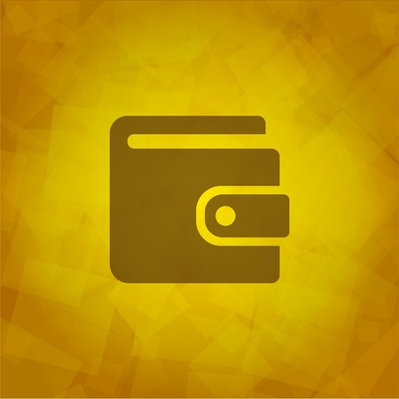 wallet icon  on Abstract Yellow Background.  Vector