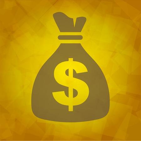 monete antiche: Sacco di soldi Icona su giallo sfondo astratto. Vettoriali