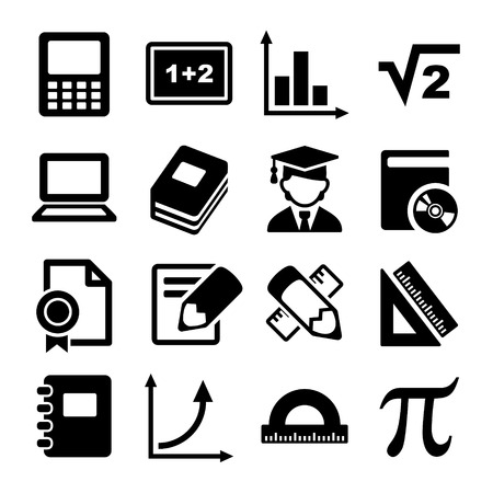 Mathematics Icons Set for Web and Mobile Applications.