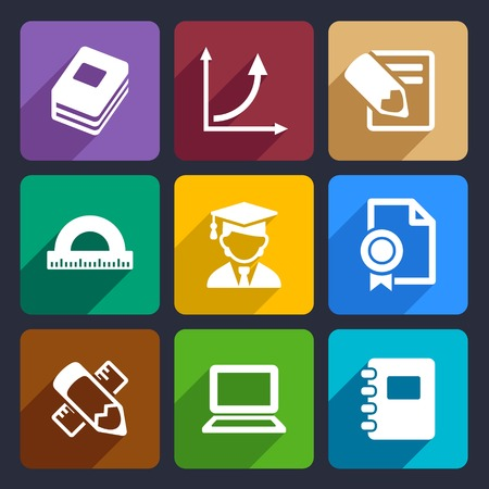 Mathematics Flat Icons Set for Web and Mobile Applications.  Vector