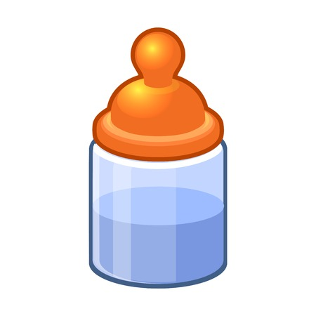 Baby Bottle with Water or Milk.  Illustration