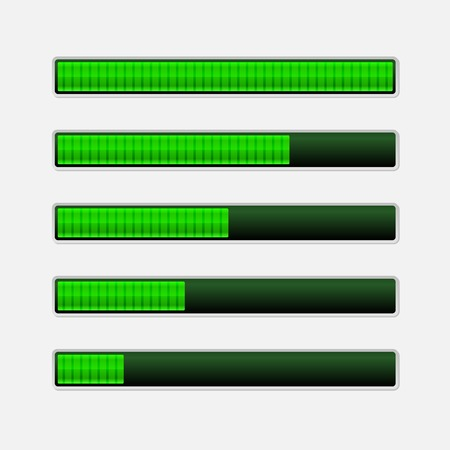 Green Progress Bars on Light Background Vector