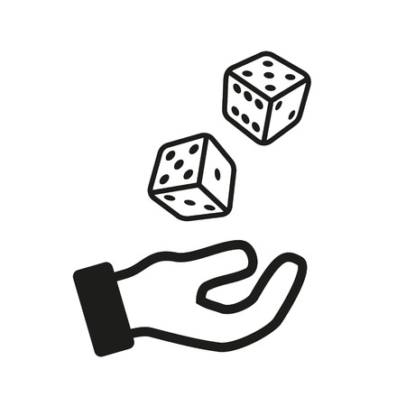 outline red: Male hand rolling dice isolated on white background.