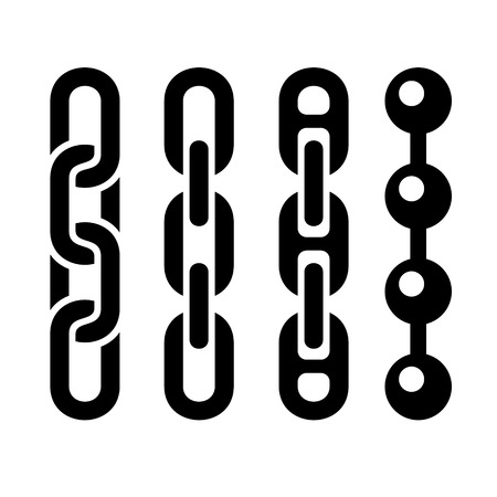 metal chain: Metal chain parts icons set on white background.  Illustration