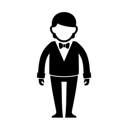 Silhouetted Man in Black Suit with Bow Tie. Vector Illustration