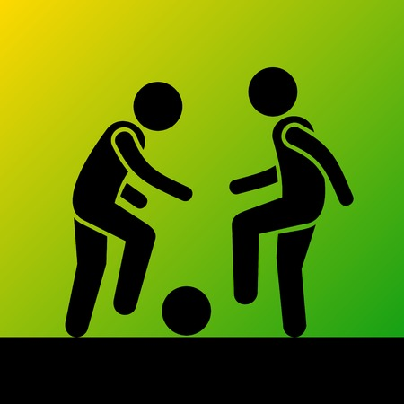ballsport: Two Football Players with Ball. Vector Pictogram