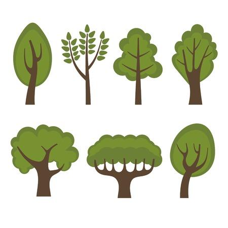 arboles de caricatura: Conjunto de diverso estilo Cartoon árboles verdes. Ilustración vectorial Vectores