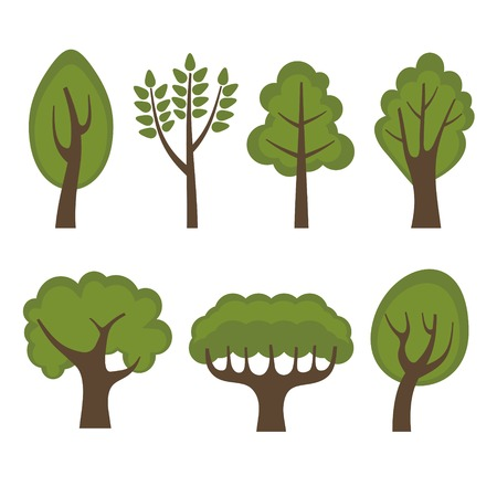 Set of Different Green Trees Cartoon Style. Vector illustration Vector