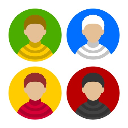 userpic: Colorful Businessman Userpics Circle Icons Set in Trendy Flat Style. Vector illustration